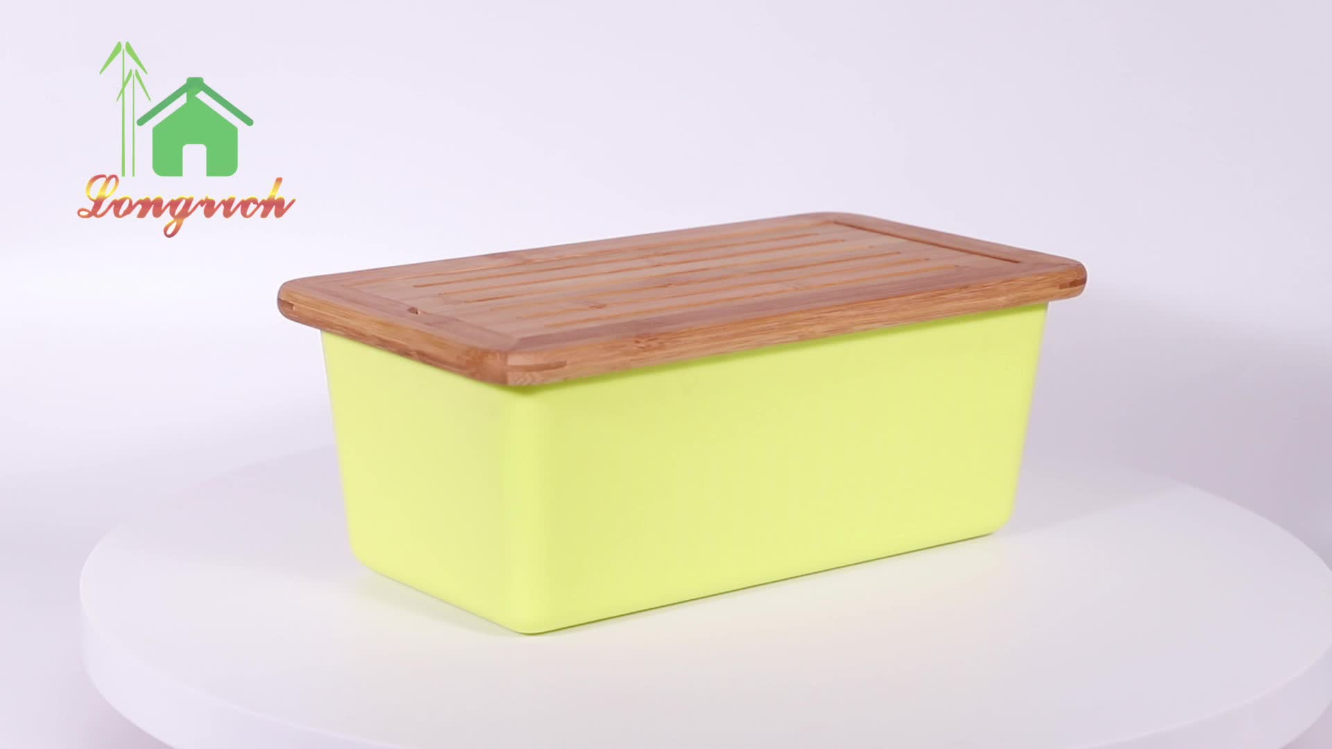 FSC Certified Sustainable Wipe Clean Freshness Preservation Natural Wooden Bamboo Bread Box