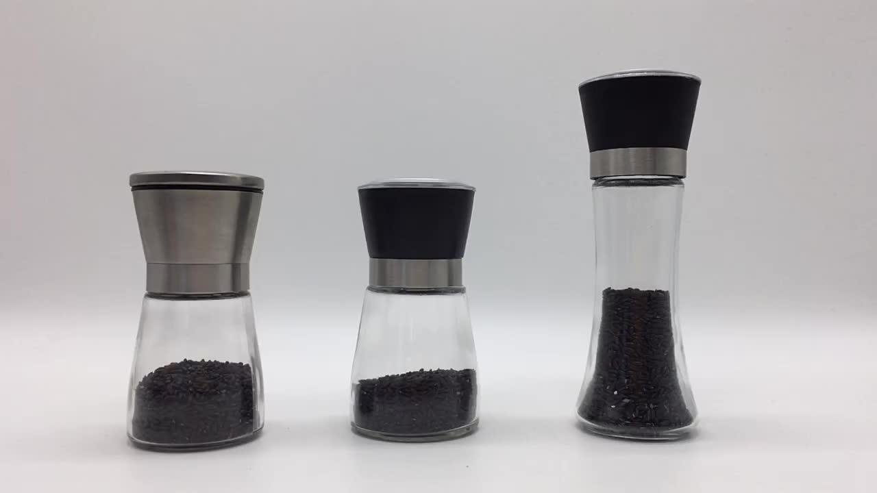 Wholesale 180ML 200ML Empty Salt Pepper Mill Spice Glass Bottle With Grinder Bottle