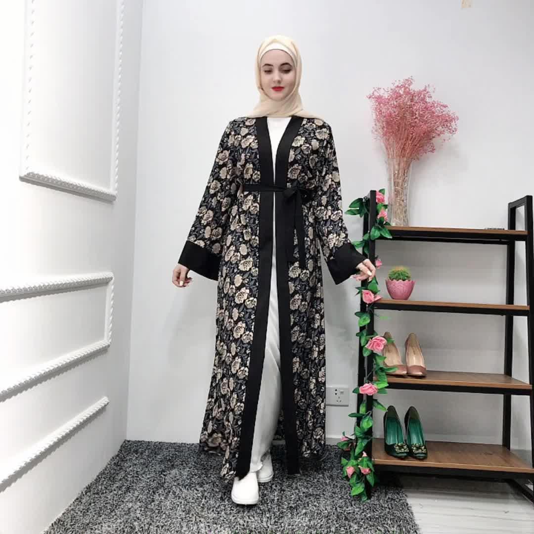 2019 new arrival women flower printed open abaya fashion muslim long dress