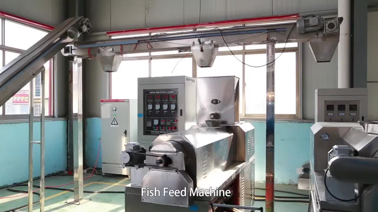 twin screw extruder for floating fish feed pellet machine