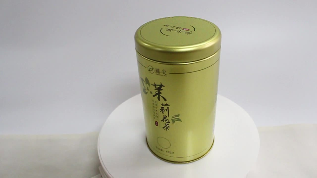 Metal round candy coffee tea tin box with inner lid for more-airproof