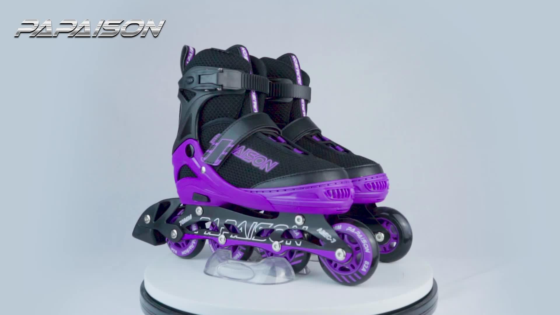 PAPAISON hot vender 4 roda leve PU X-grande tamanho adultos patins inline velocidade patins