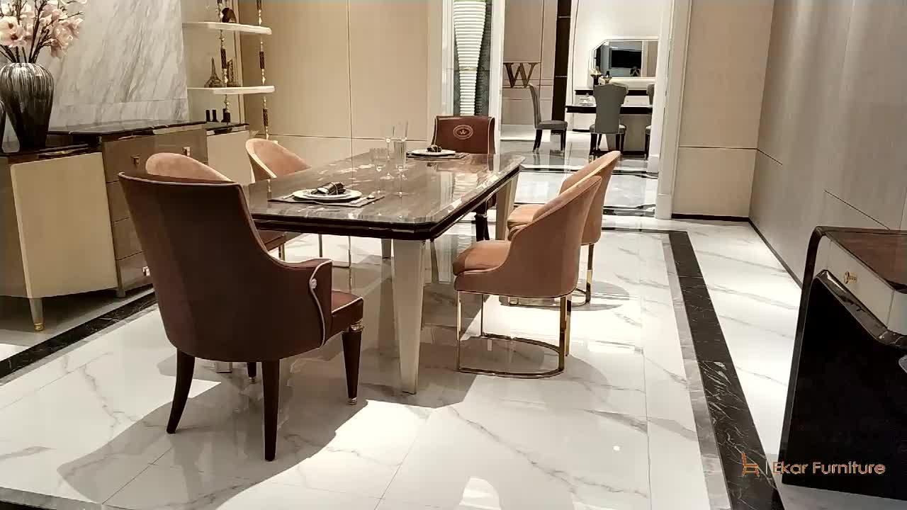 Elegante Mobiliário de Casa Cadeira de Jantar Base De Metal Couro Nobuck Rosa