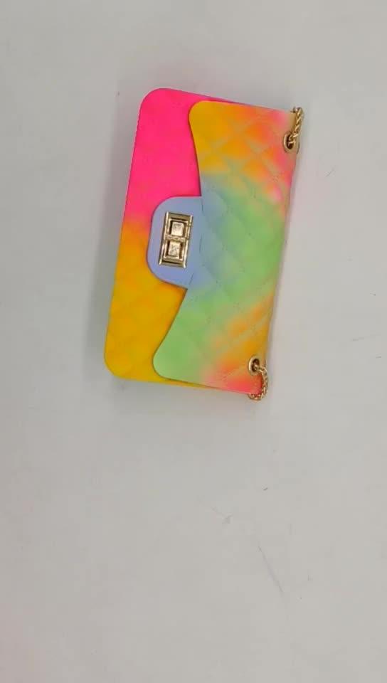 Hot selling lattice chain candy color jelly bag women purses handbags women bag