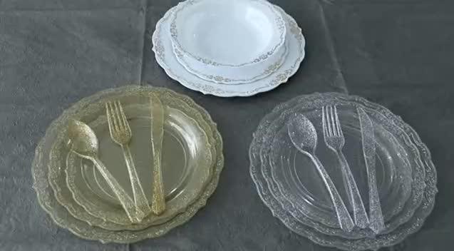 """Wholesale cheap eco-friendly ps fancy wedding snack disposable plastic plates 25pcs 7.5"""" 25pcs 10.25"""""""