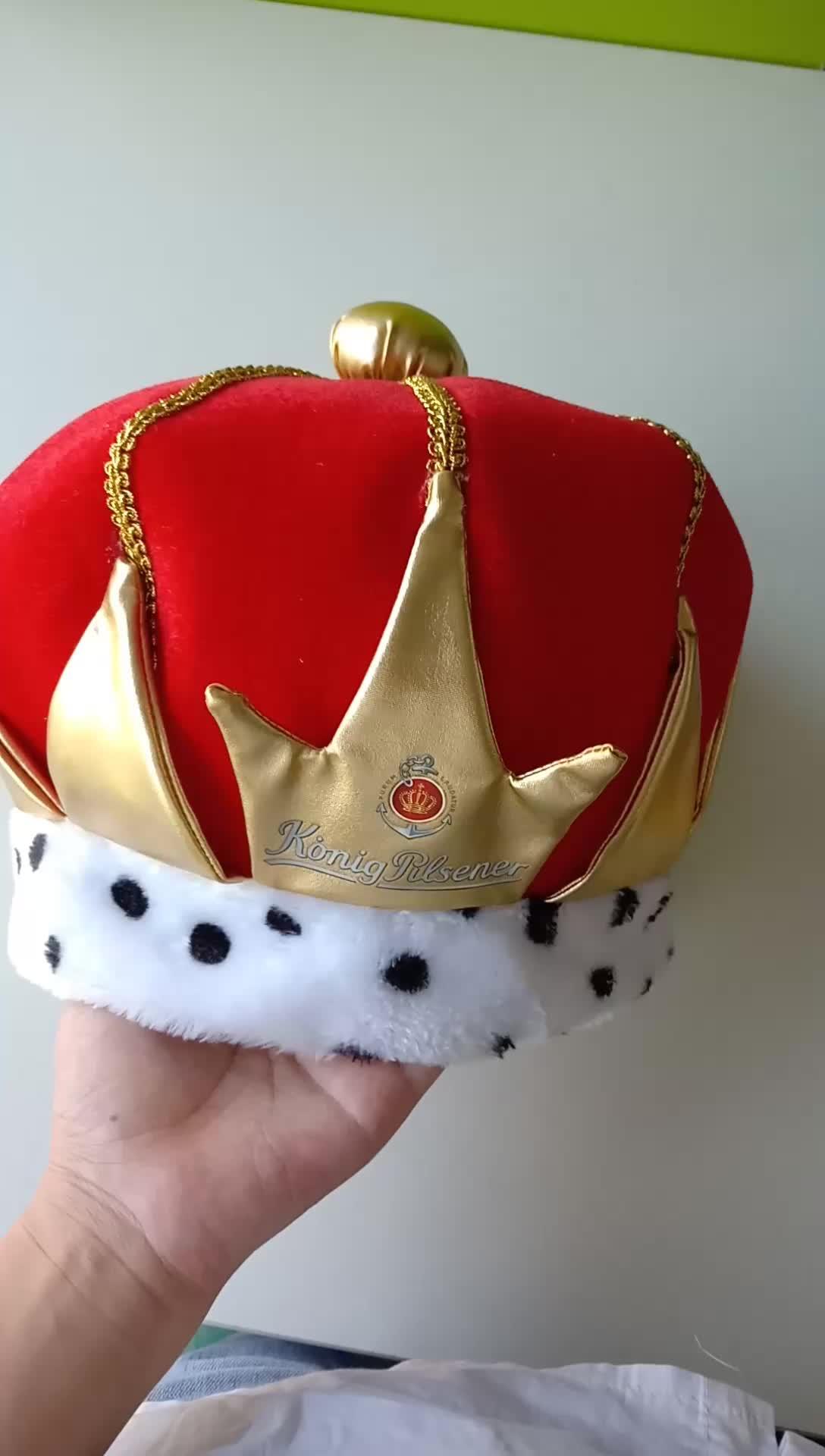 Custom di carnevale di halloween del partito di velluto adulto rosso e oro logo stampato reale re corona cappello