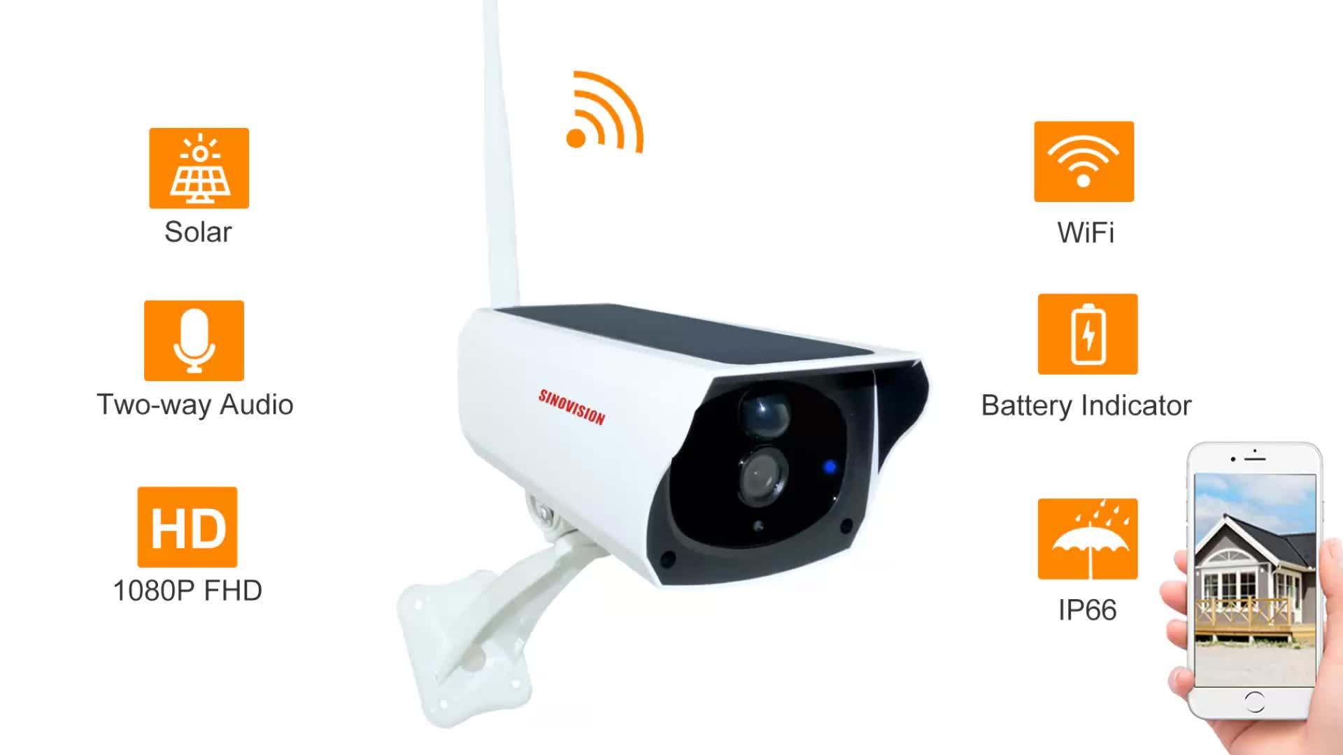 Cámara IP de vigilancia con energía Solar y WIFI de Sinovision 1080 P, cámara de seguridad para exteriores con visión nocturna a prueba de agua de 2.0MP