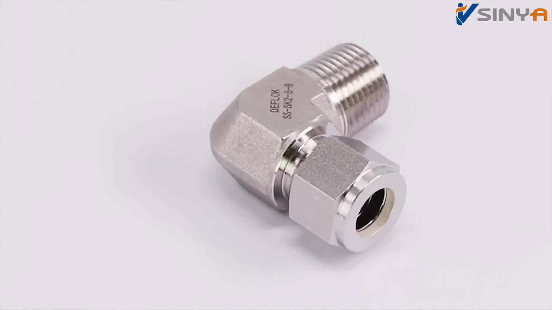 "1/4"" Tube x 1/4"" NPT Twin Ferrule Compression Tube Instrumentation Fittings 316 Stainless Steel 90  Male Elbow tube fittings"