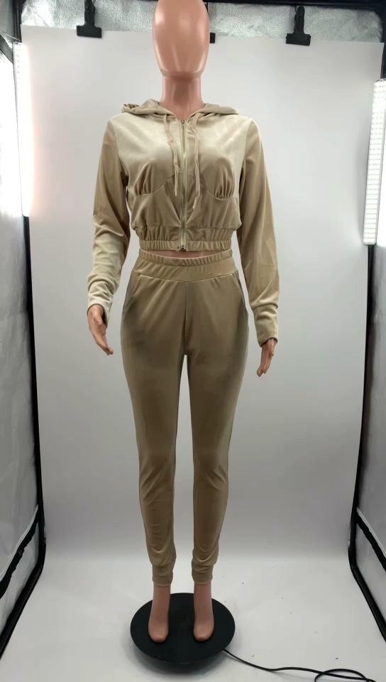 ชุด2ชิ้นเสื้อแขนยาวมีฮู้ดสำหรับผู้หญิง,ชุดวอร์มกางเกงวอร์มใส่ฤดูใบไม้ร่วงเสื้อผ้ามาใหม่ปี2020