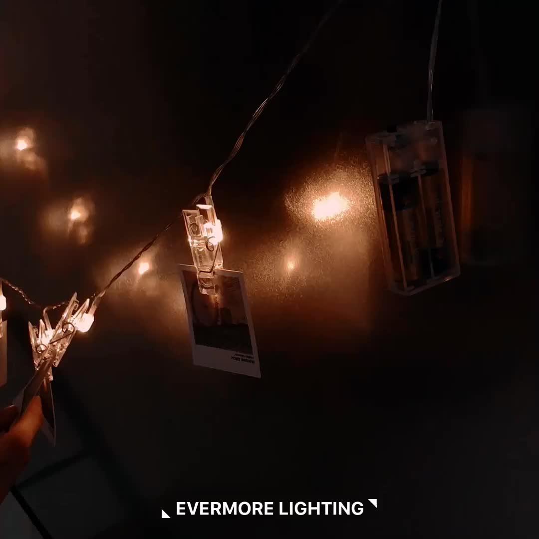 USB luz up madeira 50 titular memória Phote grampos de corda luz LED