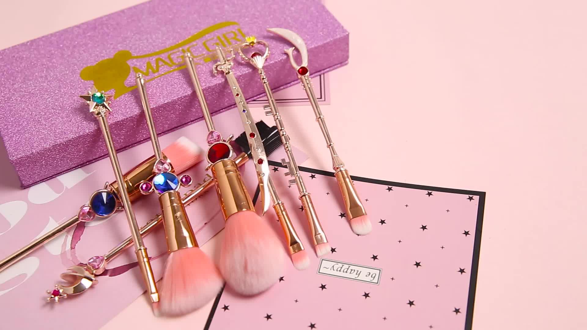 De Metal de polvo cosmético de La Fundación Kits de maquillaje de cara herramienta marinero Luna 8 pcs belleza cuidado de la cara de herramientas de maquillaje que cepillos