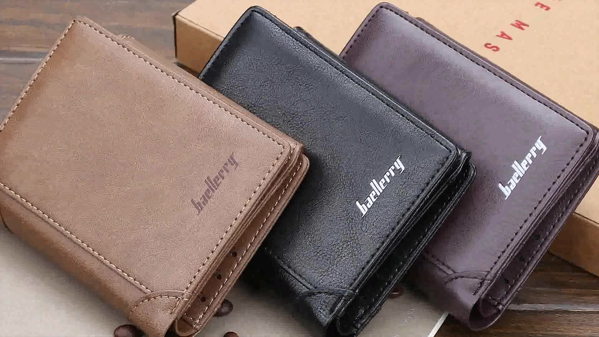 Baellerry 2019 New Style Men's Short Section PU Leather Tri-fold Wallets With Hasp,Blocking Card Holder Zipper Purse For Man