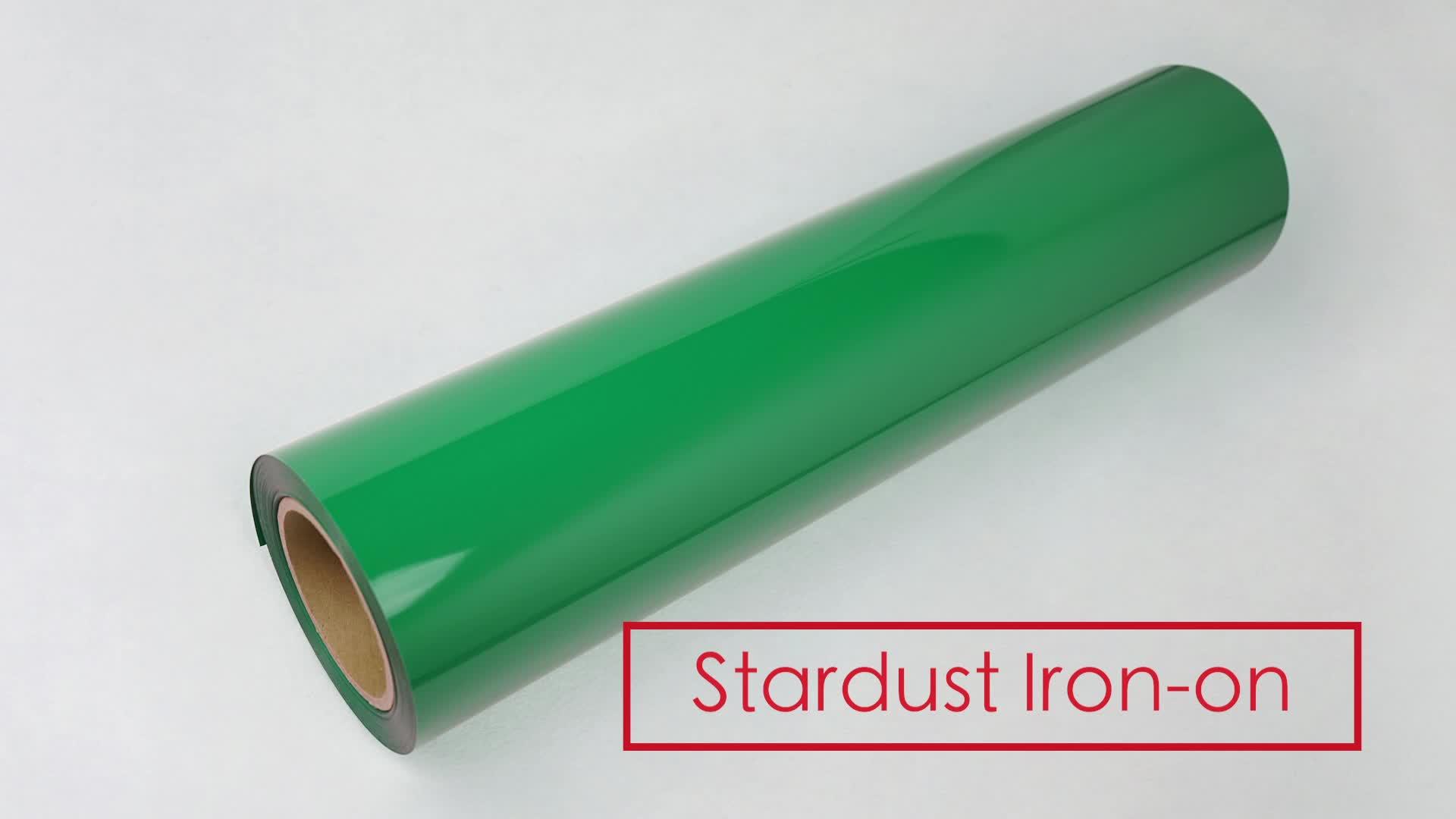 Stardust PU calor transferência de vinil rolo estiramento película lisa à prova d' água adesivo adequado aceitar logotipo personalizado de ferro em roupas aplicar