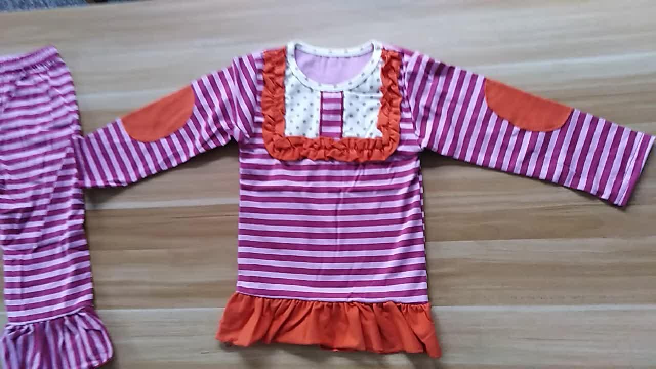 Dropshipping Wholesale Musim Gugur Terbaru Bunga Mencetak Gadis Kustom Anak Pakaian Set