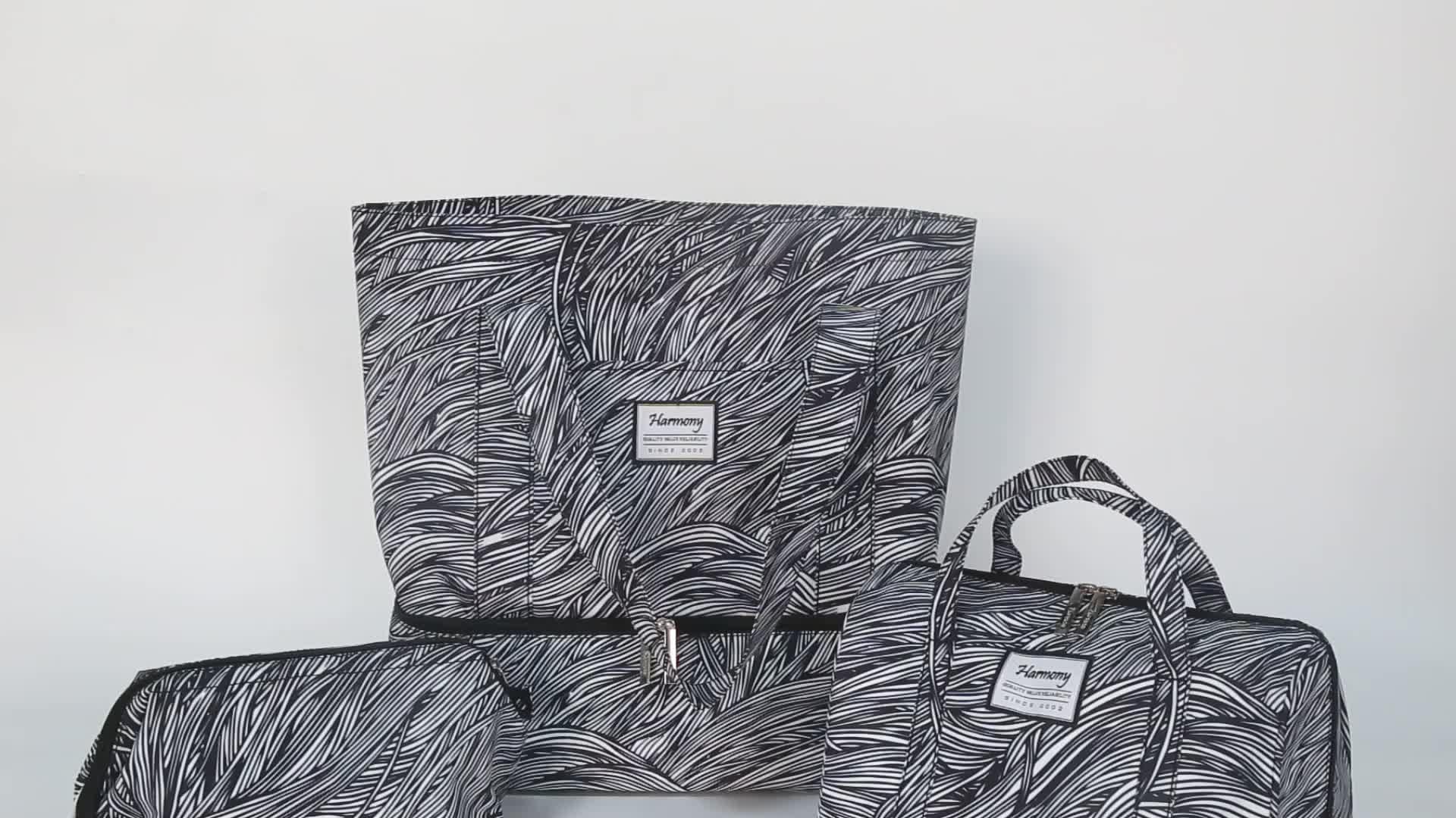 Baskı promosyon mikrofiber kolu alışveriş çantası fermuar olmadan veya düğme