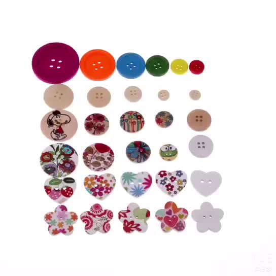 High quality custom fancy printing baby button two hole wooden round buttons for children's clothing