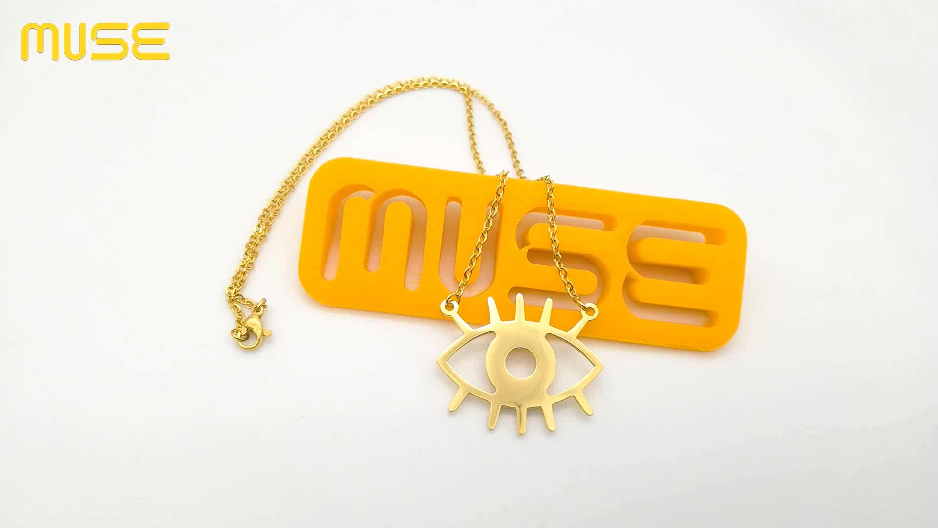 Großhandel Schmuck Halskette Benutzerdefinierte Frauen 18 k Gold Überzogene Halskette Auge Halskette NN40100