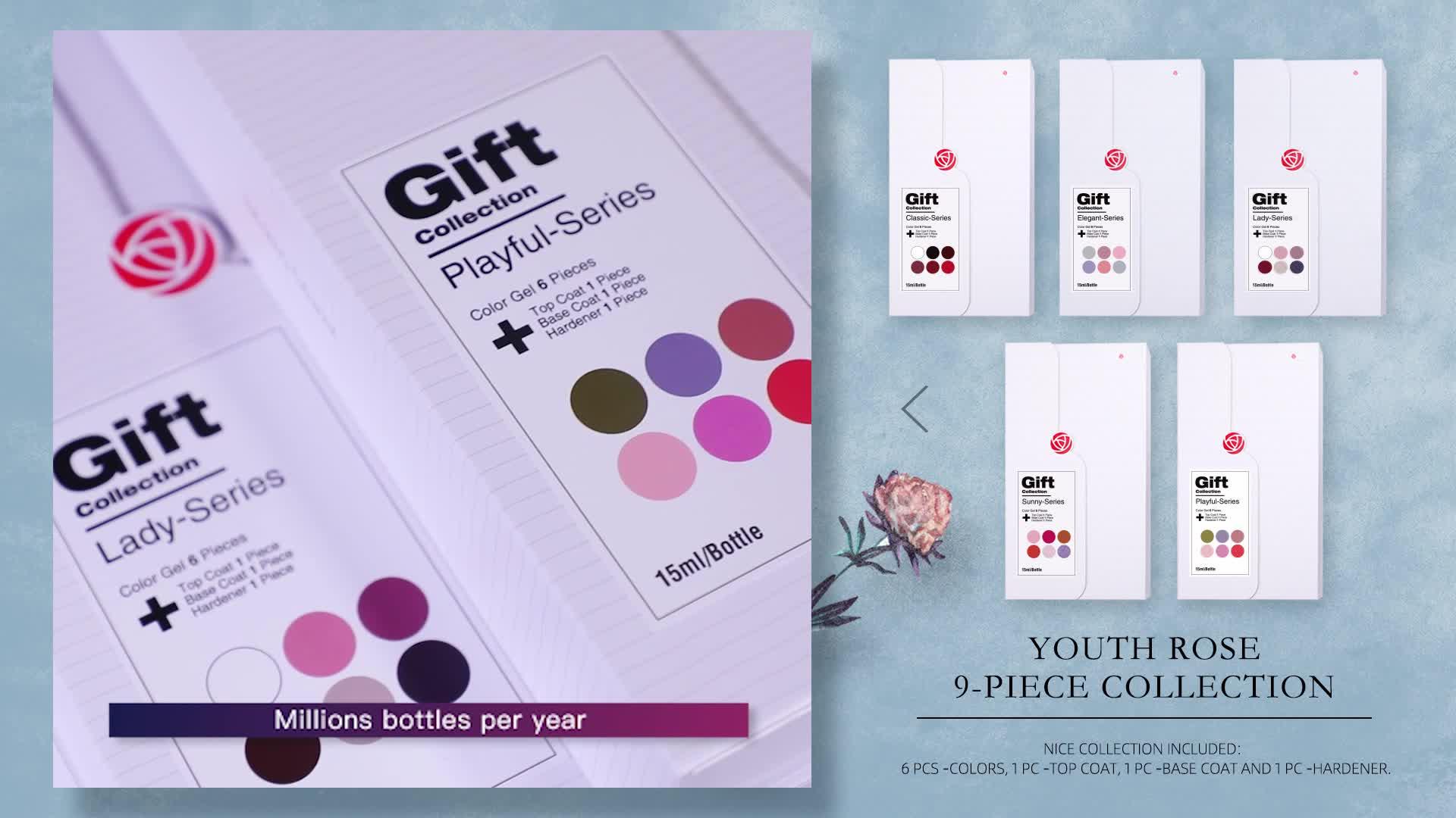 Gioventù Rosa del Commercio All'ingrosso 6 Colori e 1 Base 1 Indurente 1 Top Gel Del Chiodo Polish