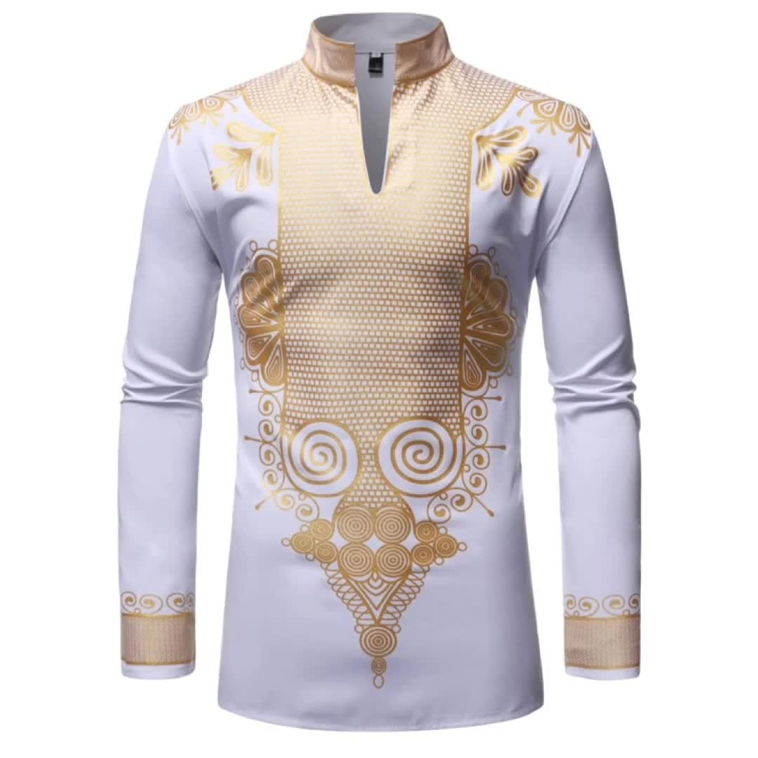 Hot sale 55% Cotton 45% Polyester hot stamping long sleeve african style shirt dashiki