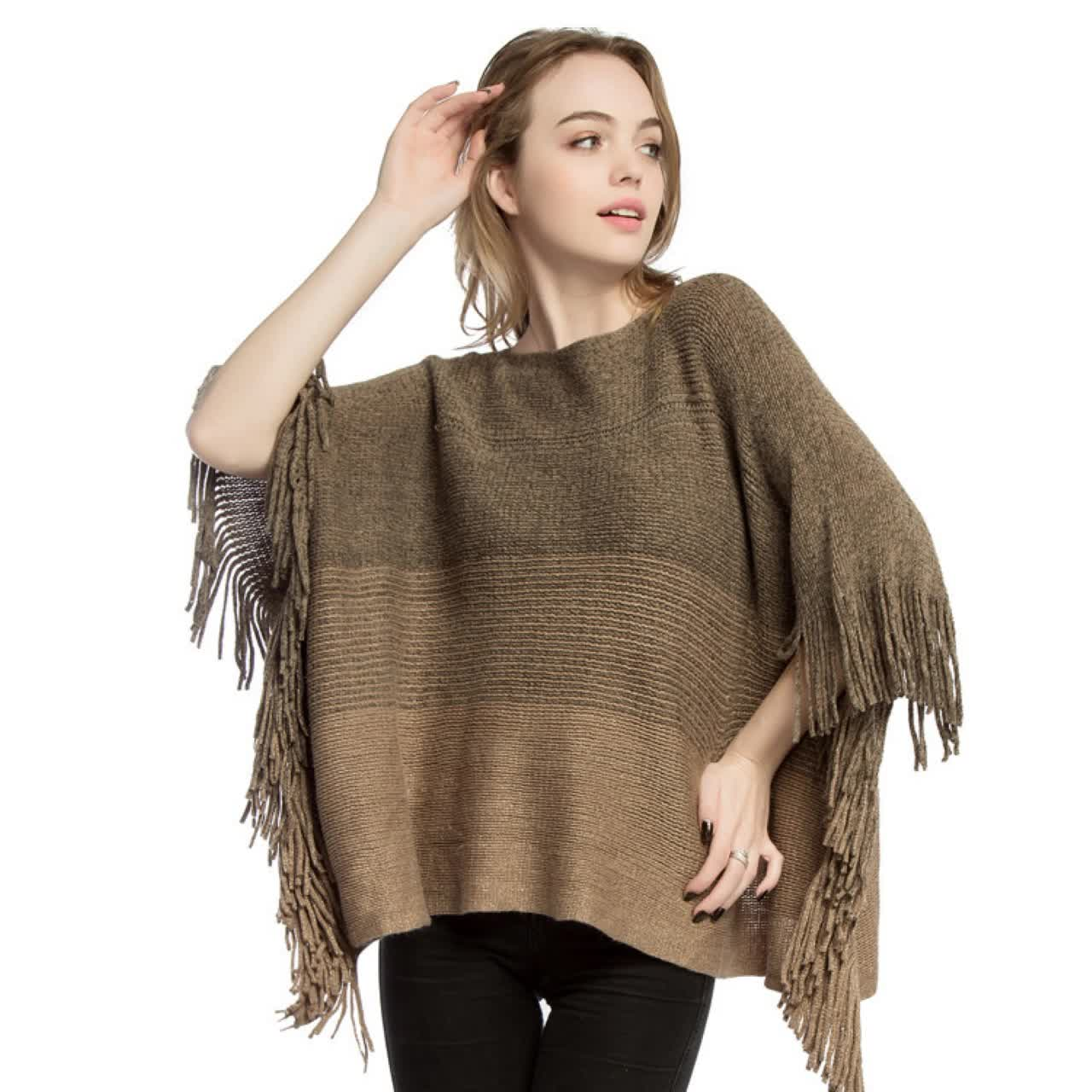 Cheap new arrival classic western style loose women acrylic women poncho sweater