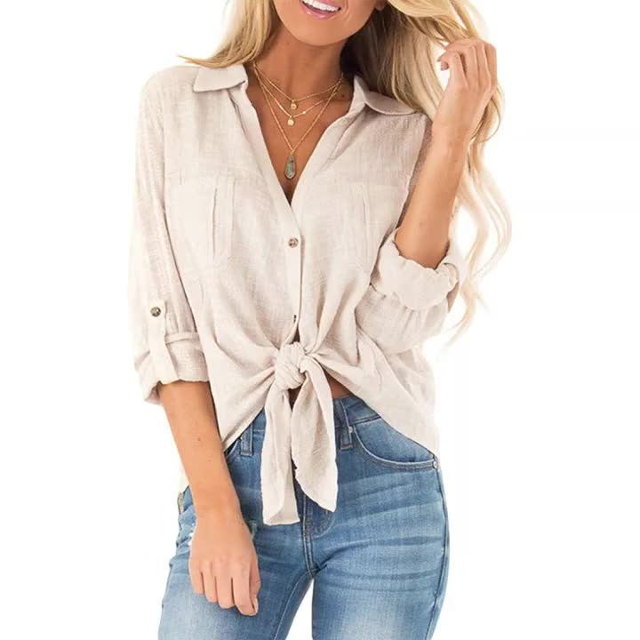 New Arrival Long Sleeve Crepe Woven Autumn Women Shirt Blouse