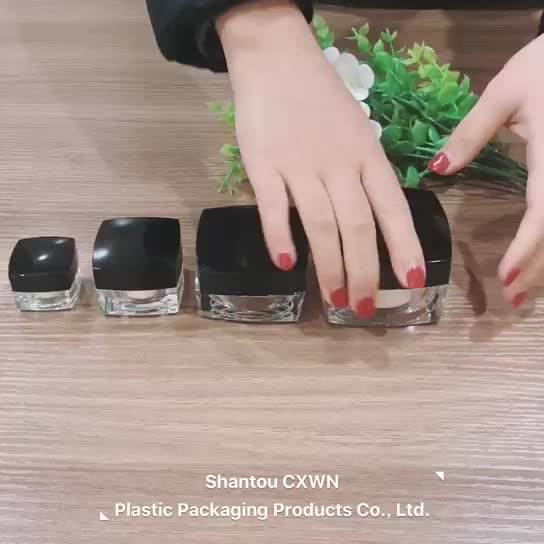 5g 10g 15g 20g 30g 50g Empty small plastic acrylic double wall square modern jars for glitter