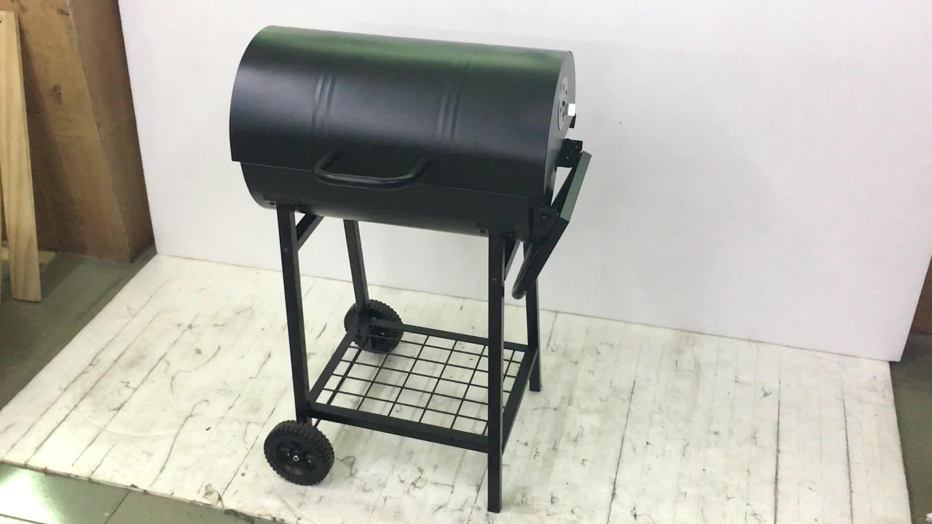 Budget ราคาไม่แพง backyard กลองขนาดใหญ่ aussie bbq pro ราคาถูก garden charcoal barrel ย่างเตาอบและสูบบุหรี่ด้านข้างตาราง