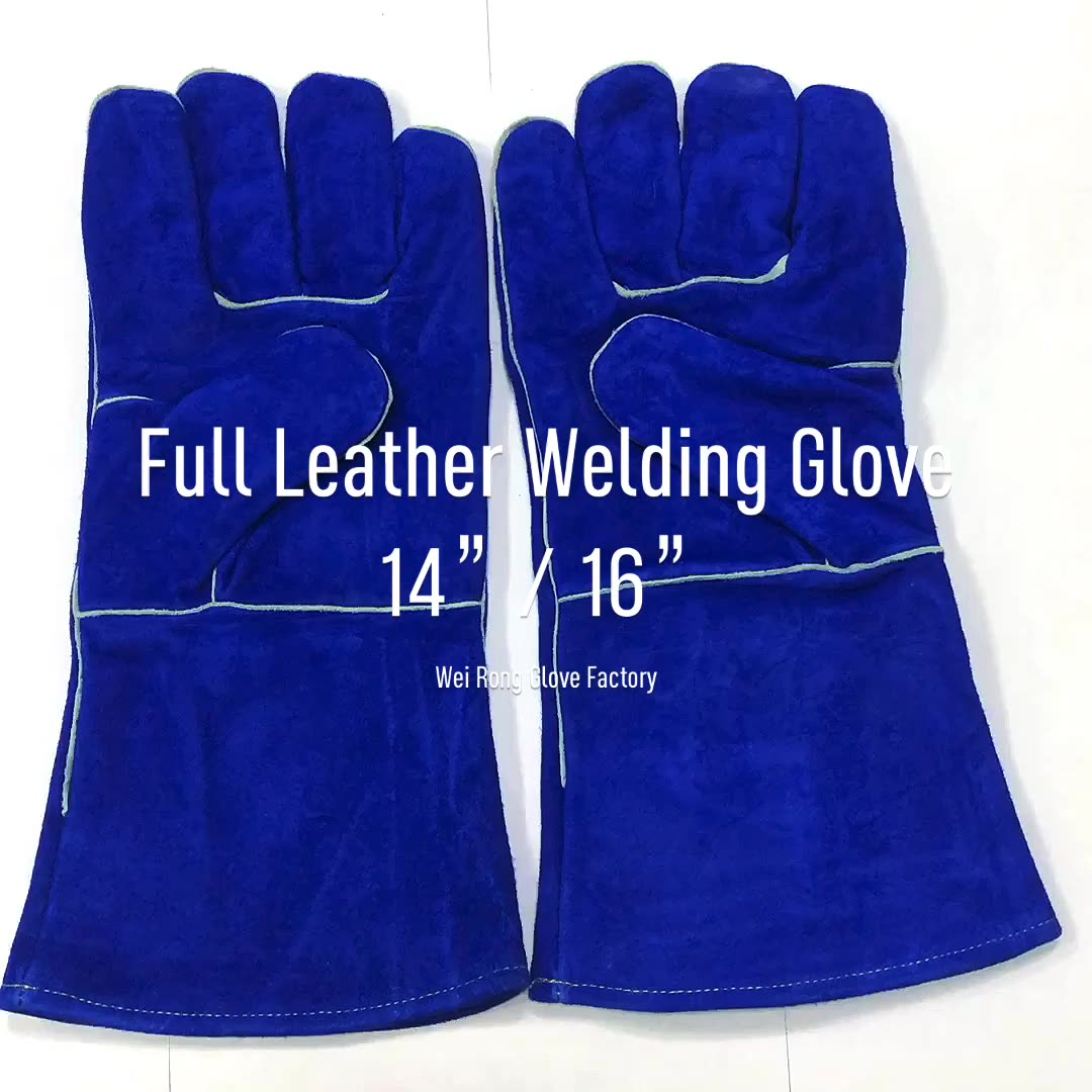 Cheap long cow split leather welding safety working hand protection heat protect cut resistant glove
