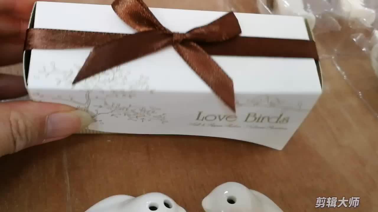Ywbeyond 저렴한 웨딩 선물 기념품 세라믹 스파이스 항아리 새를 사랑한다 맞춤 소금후추병