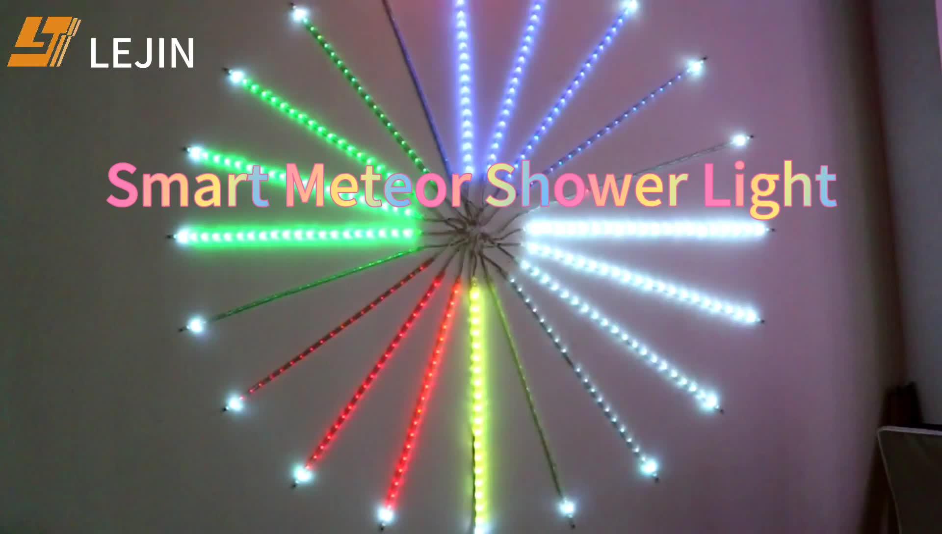 color changing digital led meteor rain light fireworks garland led motif light