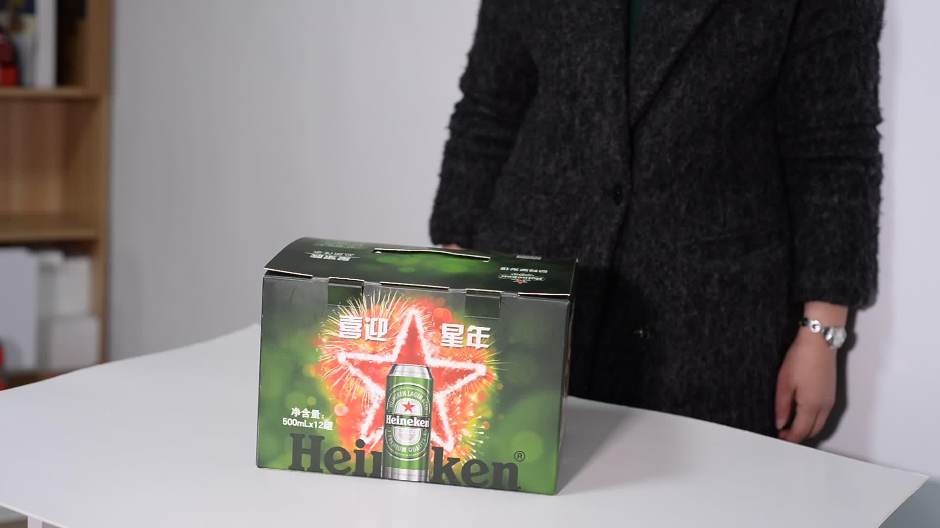 フルカラー印刷熱い販売12パックビールボトル紙包装ボックス