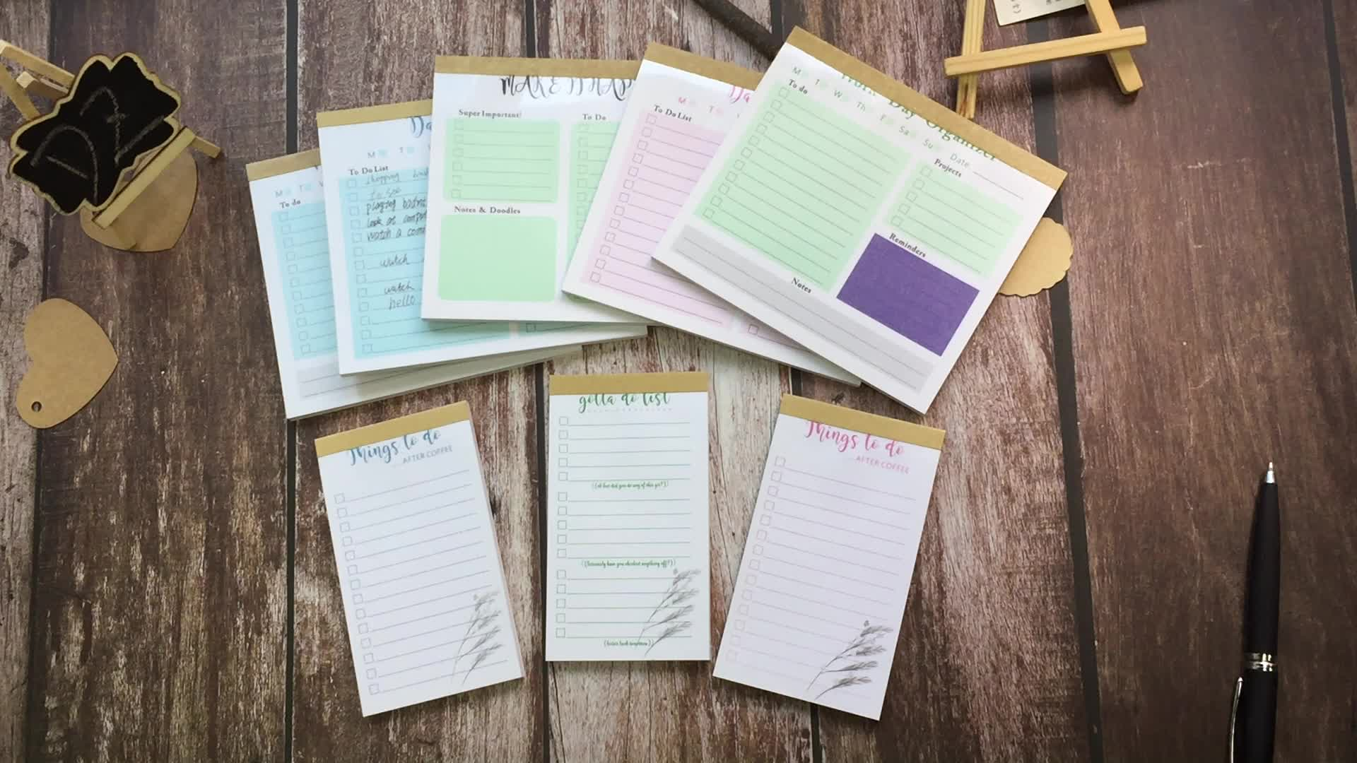 Premium Wholesale Kraft Paper Color Daily Weekly Planner To Do List Notepad