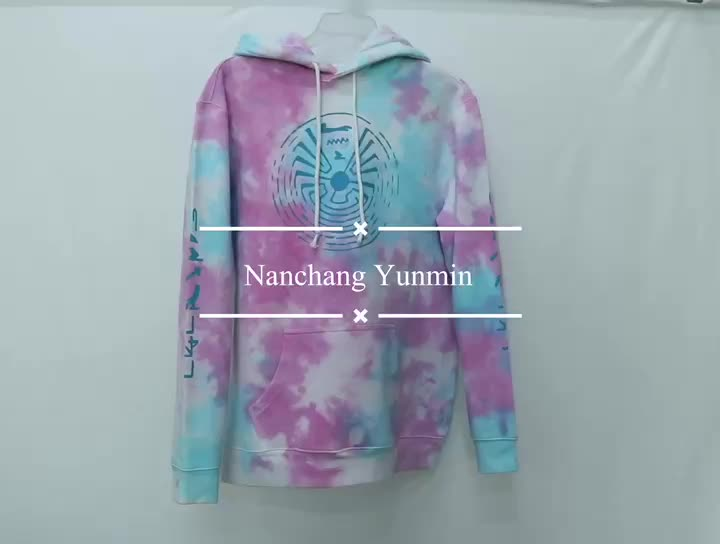 Custom Tie Dye Hoodie Tie Dye Cotton Polyester Drawstring Hooded Pocket Soft Fleece Pullover Hoodie Sweatshirt
