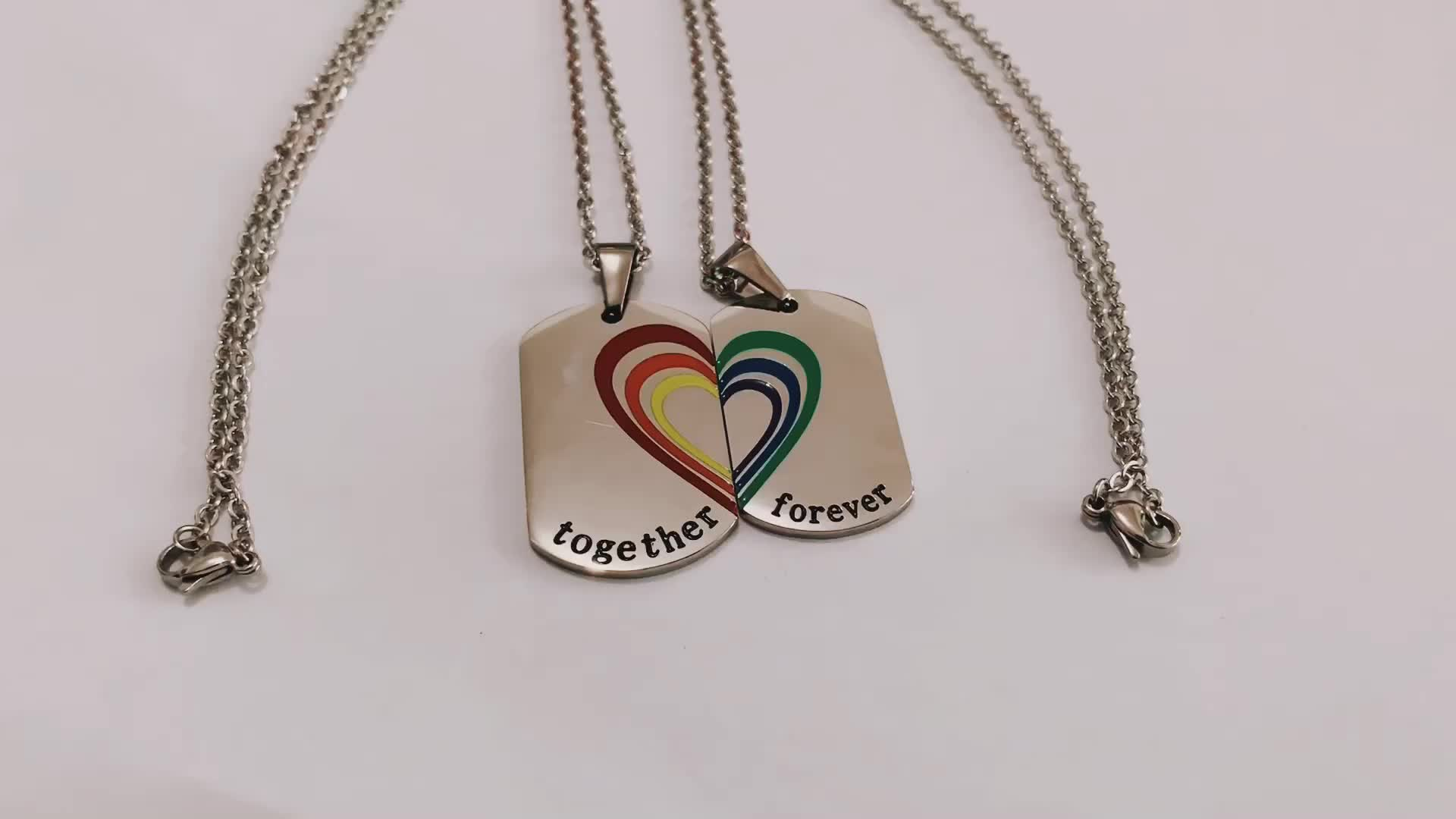 Stainless steel couple rainbow necklace 2 piece heart necklace