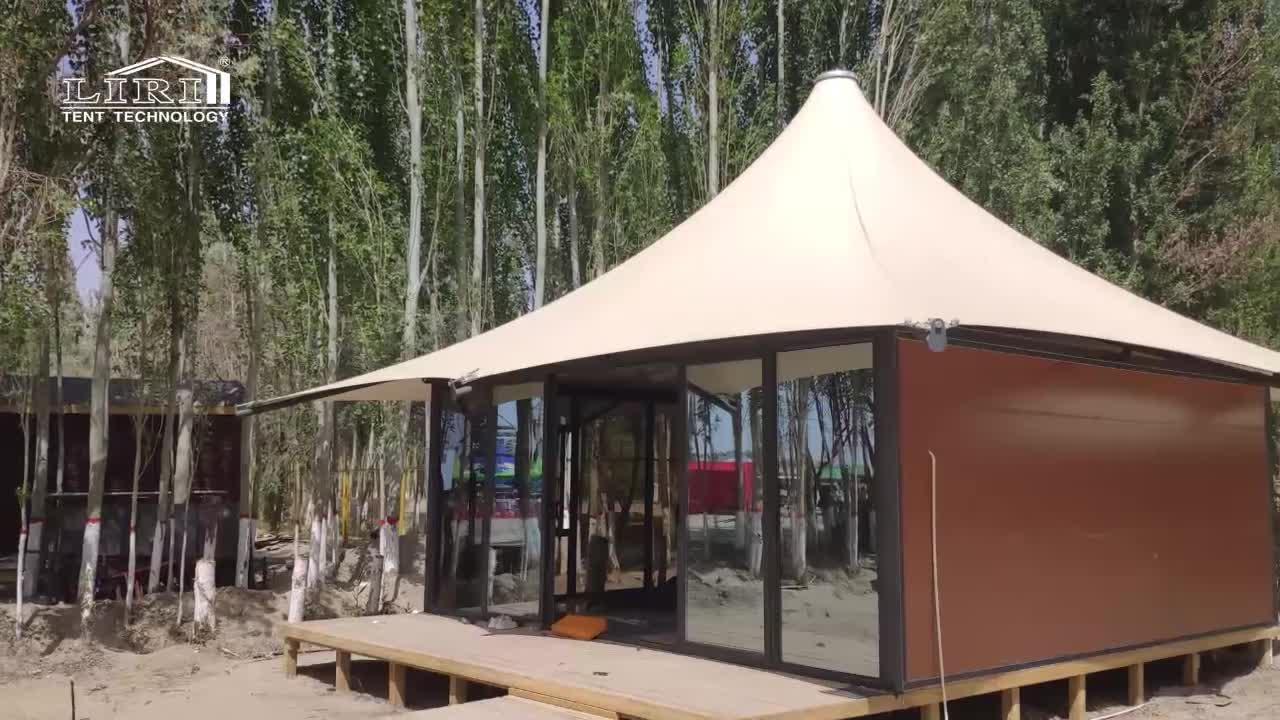 Luxury High Peak Glamping Hotel Backyard Lounge Safari Tent with Windows