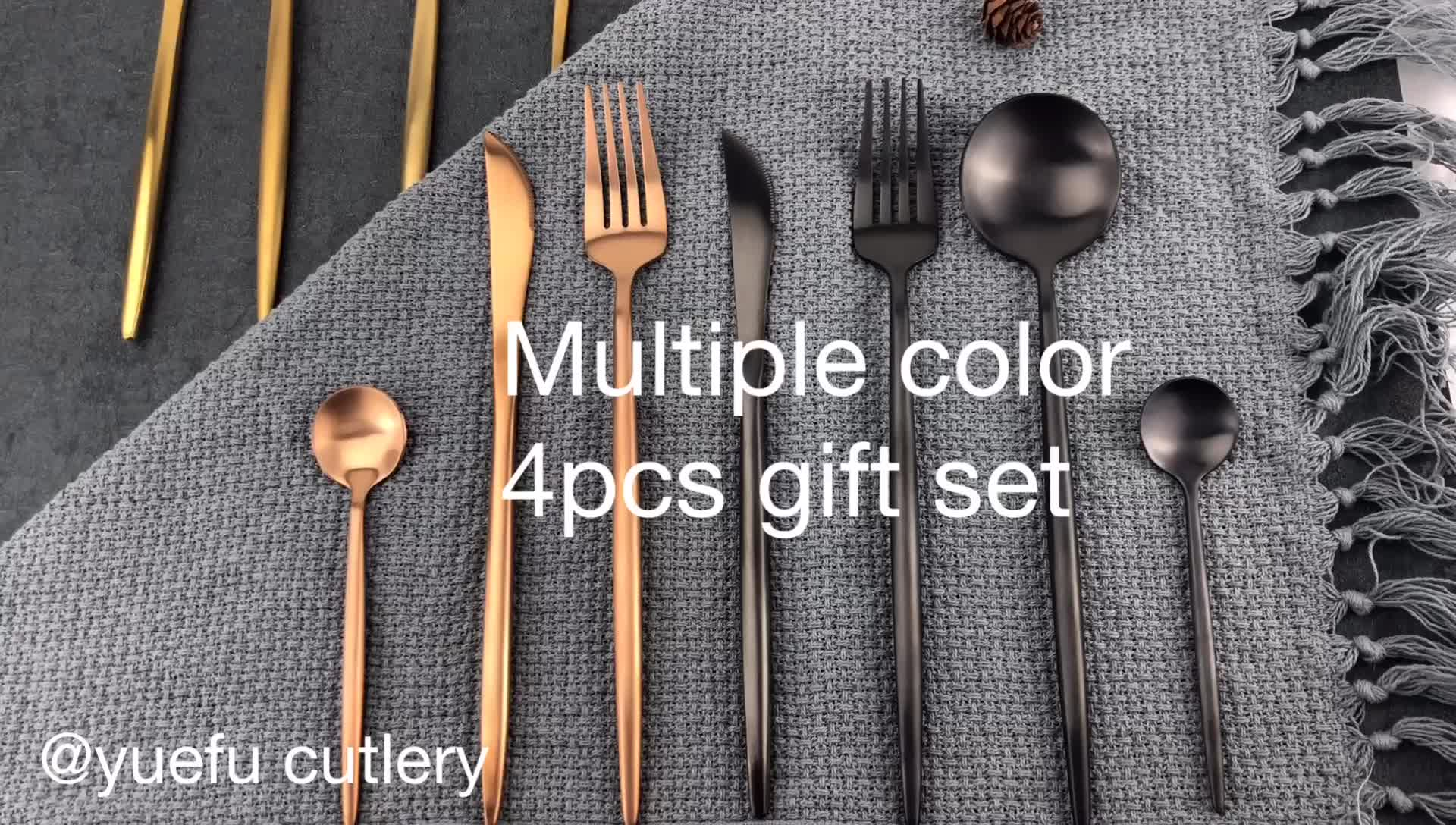 Portable an unique 18/10 matte black stainless steel cutlery
