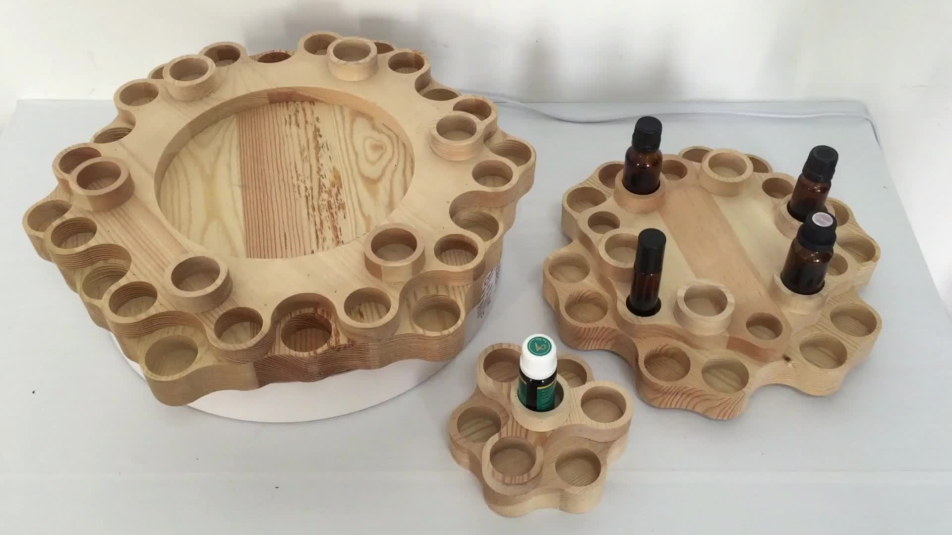Rotatable Wooden Essential Oil Display Box with 4 Tiers Holds 63 Bottles for 10ml/15ml/100ml