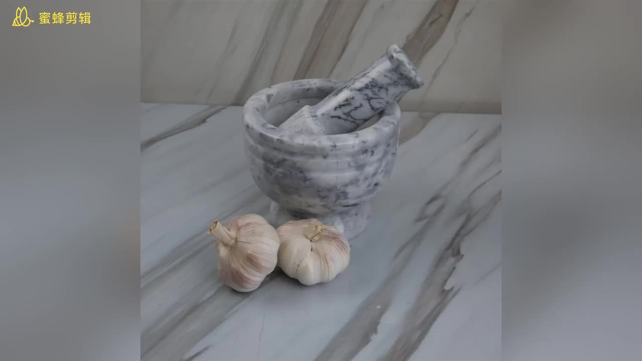 White Custom Marble Mortar and Pestle For Crushing Herbs, Spices And Pills