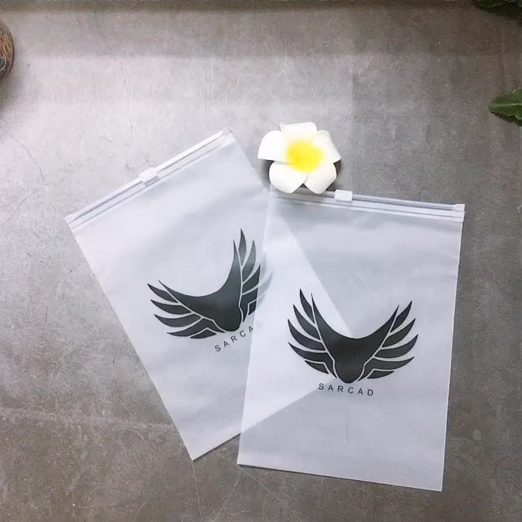Custom Logo Printing Slide Matte/ Frosted Biodegradable Zipper Plastic Bag Clear Clothing Tshirt Poly Zip Bag With Own Logo