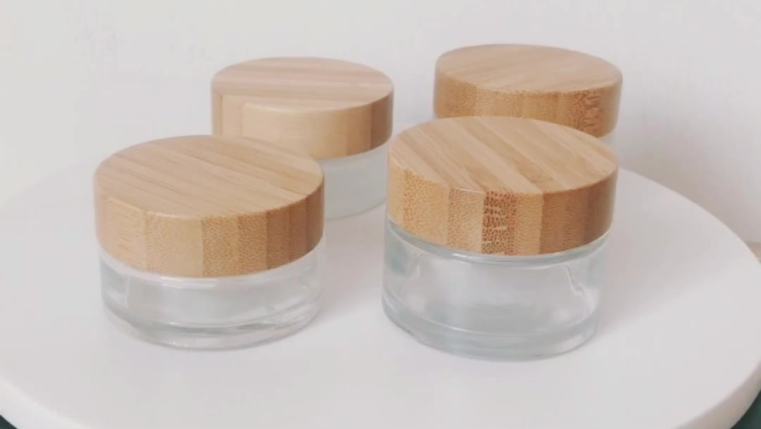 2oz Frosted glass cosmetic container face cream glass jar with bamboo lid