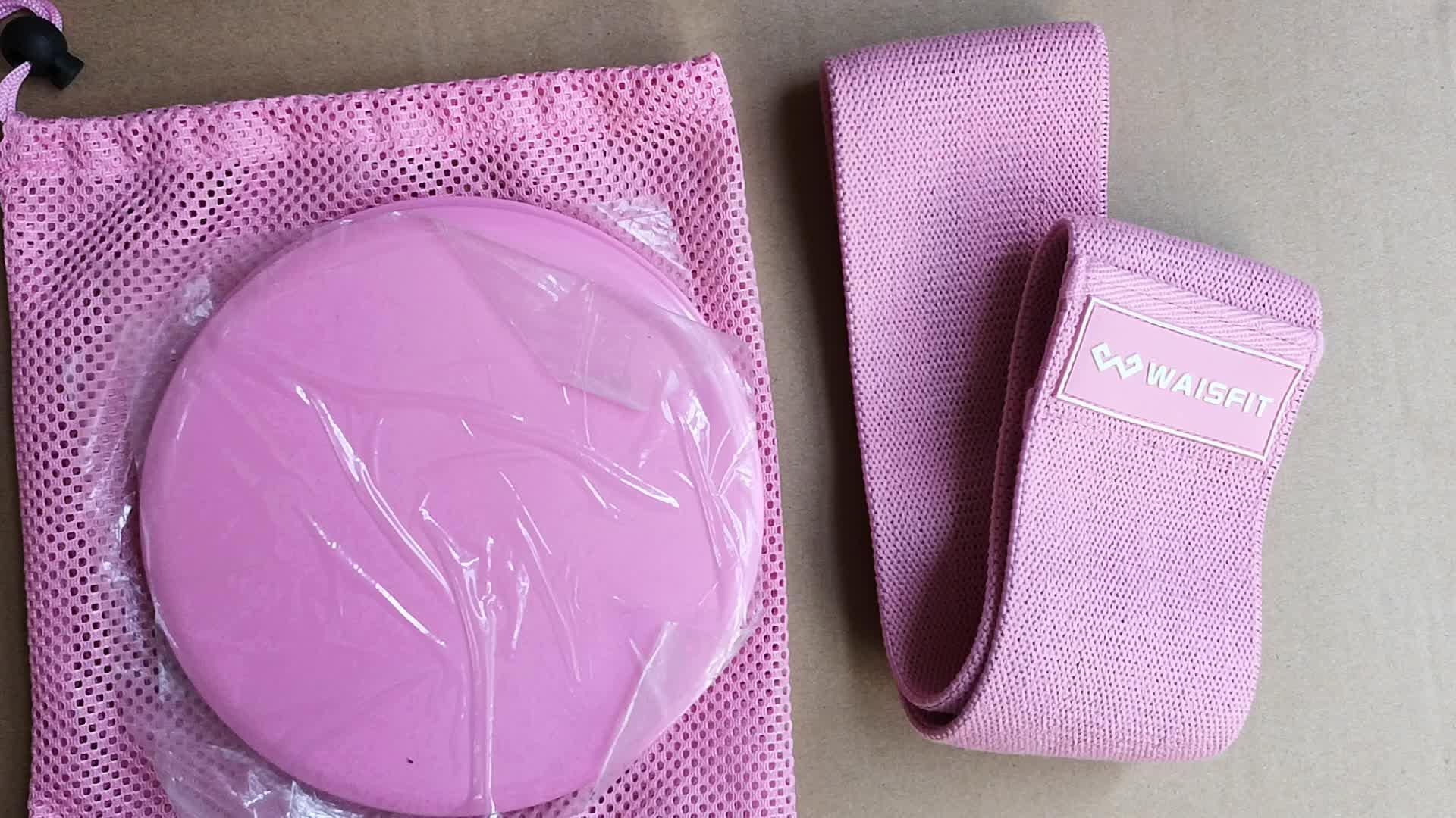 สีชมพูชุดออกกำลังกายแถบสะโพกและ Core Sliders