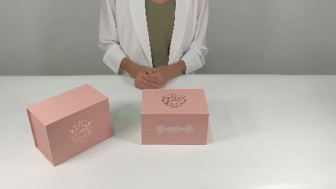 Custom Logo Premium Luxury Pink Cardboard Paper Gift Wig Hair Extension Magnetic Packaging Box