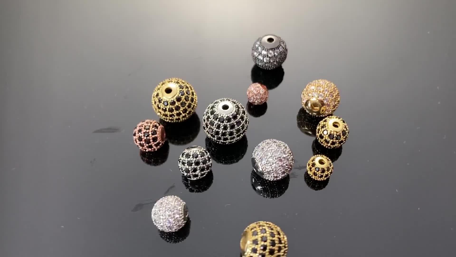 Bricolage Bracelet collier pavé CZ Zircon breloque pour la fabrication de bijoux accessoires 6mm 8mm 10mm 12mm bricolage rond perles entretoises