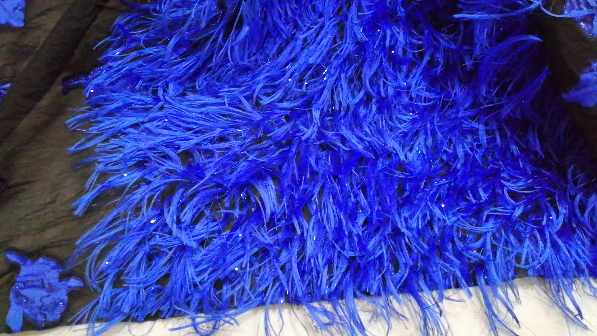 High quantity royal blue jacquard organza embroidery lace fabric with tassel Nigerian lace fabric 2019