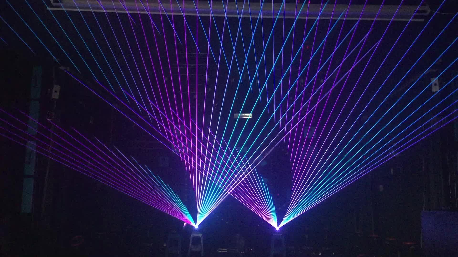 DMX เลเซอร์โปรเจคเตอร์ 5 วัตต์ RGB เวทีแสงเลเซอร์เครื่อง