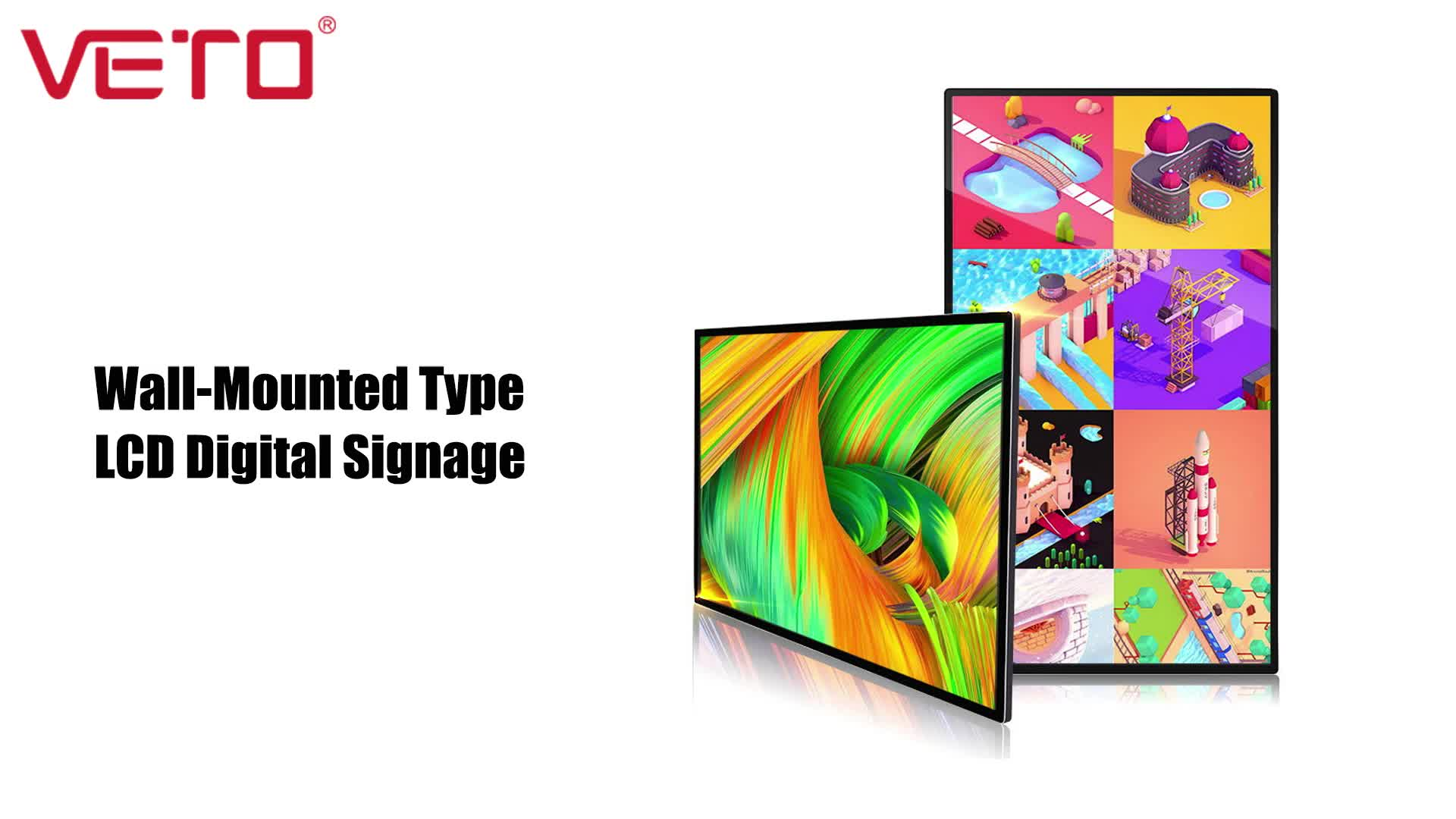 32 inch wall mounted LCD video display android version monitor