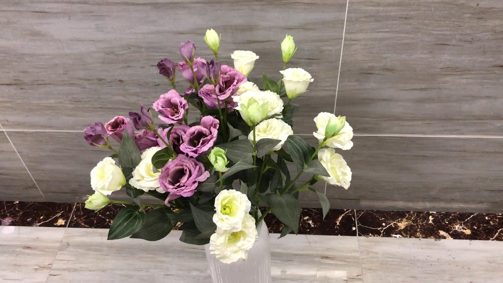 QSLH-C1326 High Quality Decorative Artificial Flowers Silk 3 Heads Lisianthus for Wedding