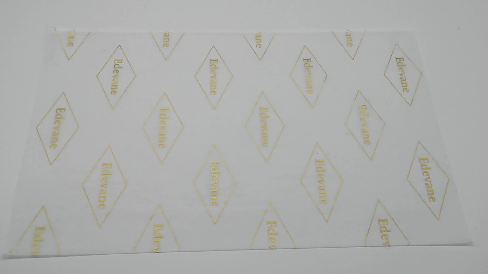 A impressão do logotipo personalizado logotipo da folha de ouro papel reciclado tecido de seda branca