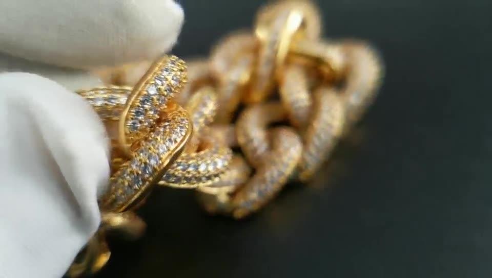 Pulsera Hip Hop para hombre, cadena con diamantes de imitación de cristal