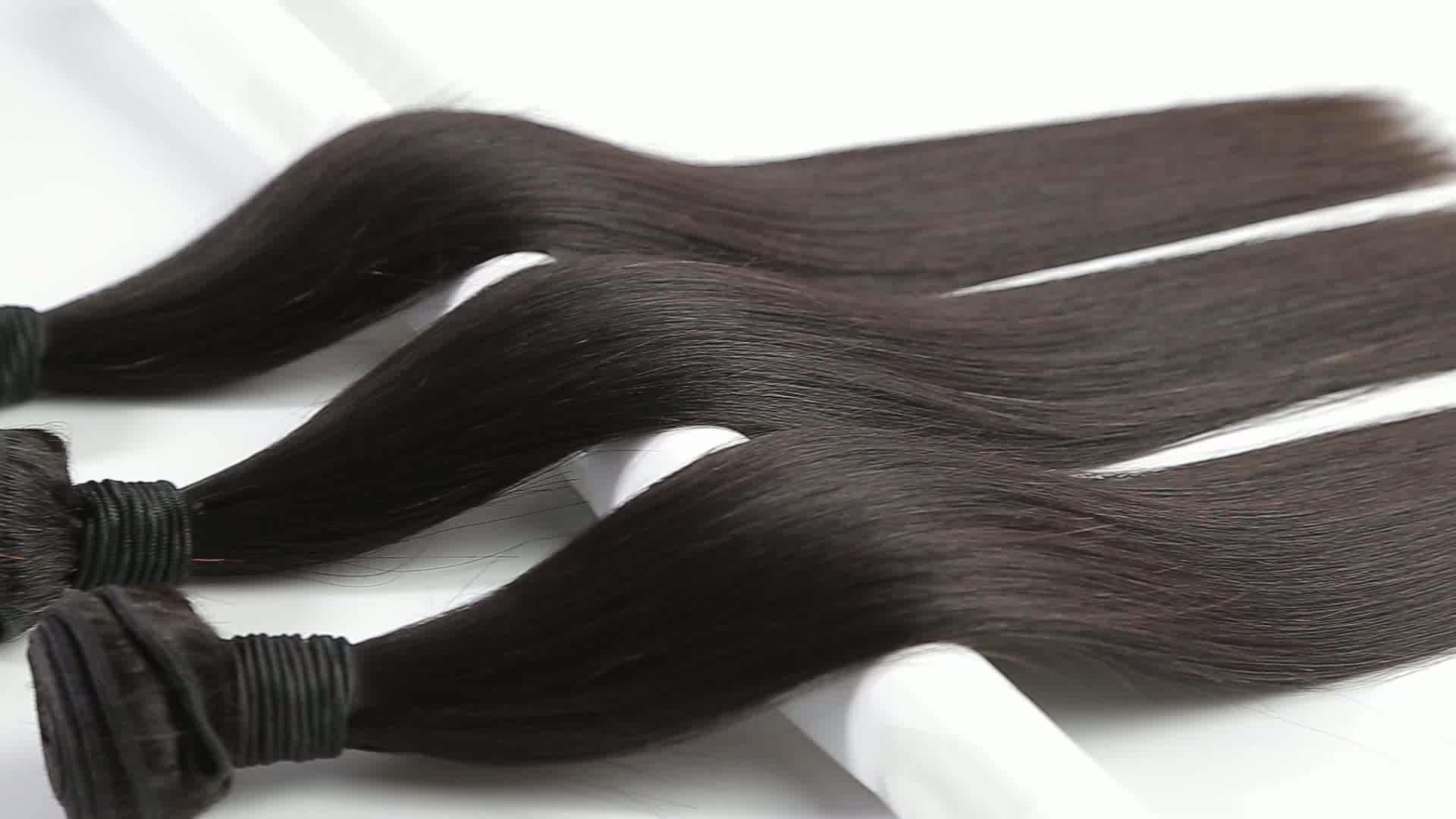 Venta al por mayor, extensiones de pelo liso de visón malayo virgen de grado 8A 9A 10A, extensiones de cabello lacio sin procesar económico, cutícula alineada de Malasia